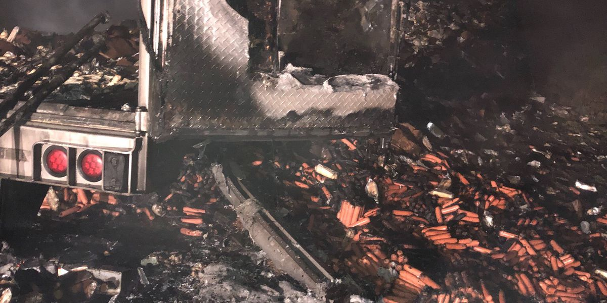 Semi hauling hot dogs catches fire near Sikeston