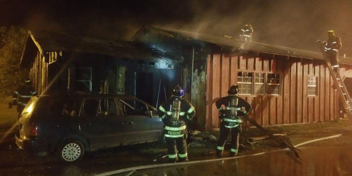 Emergency crews respond to apartment fire Sunday