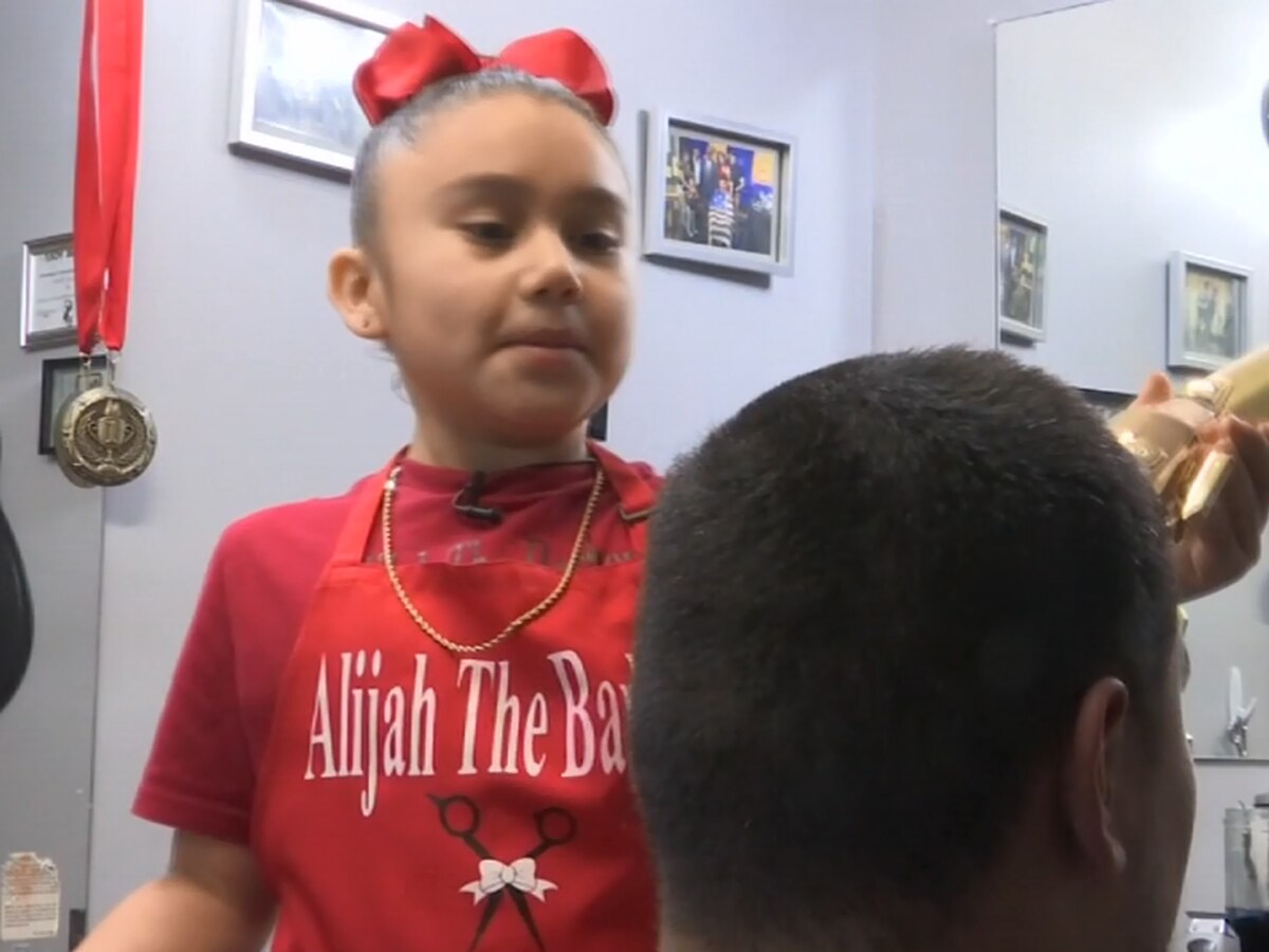 'She is going be the coldest': 7-year-old barbershop phenom turning heads, cleaning them too
