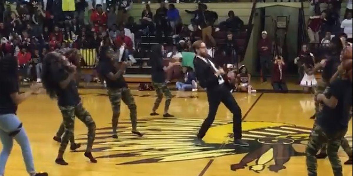 Principal turns up the dance moves at pep rally