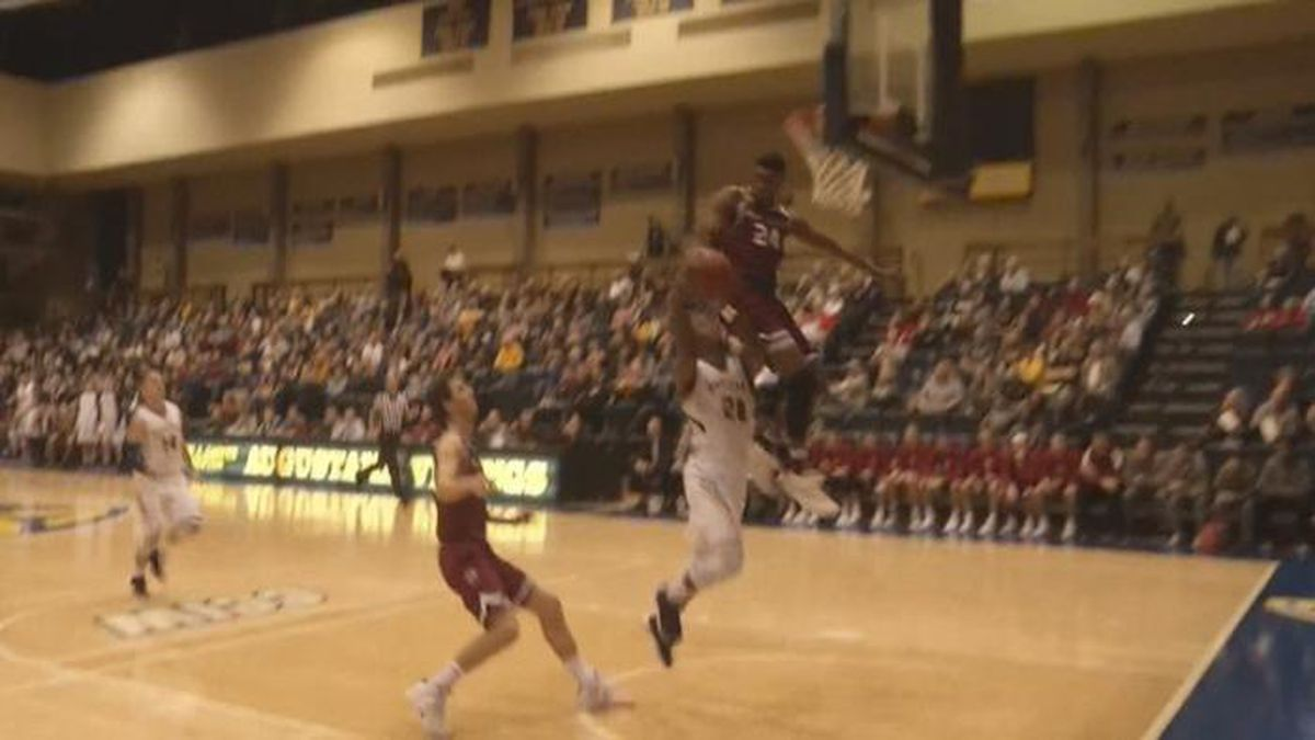 OUCH! Player slams face-first into backboard on block attempt