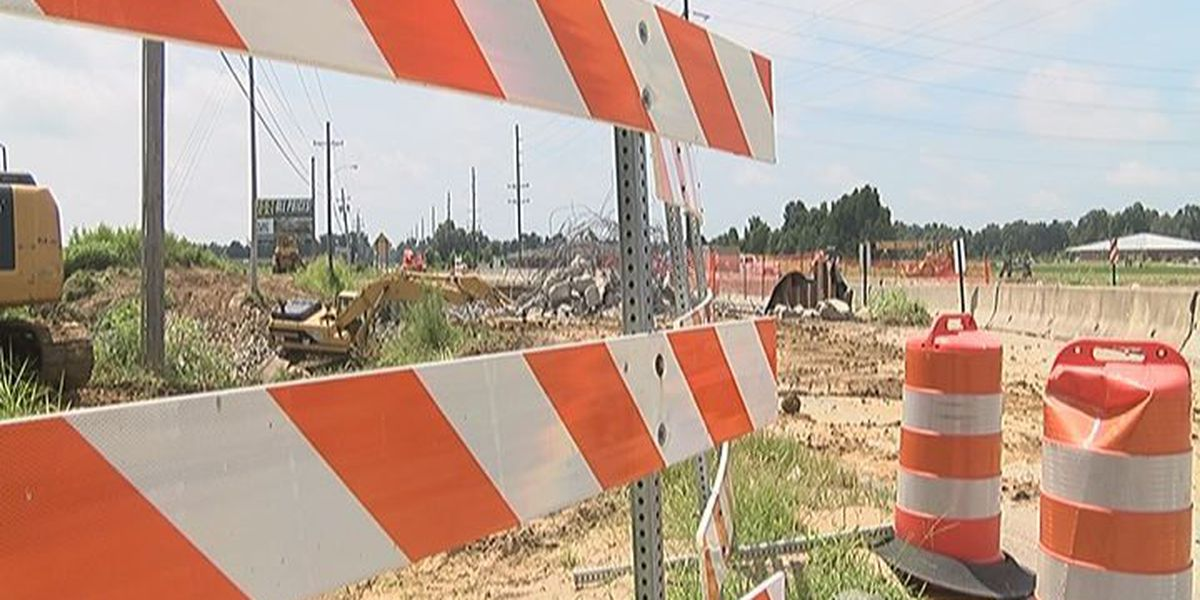 Traffic pattern changed due to construction on Caraway