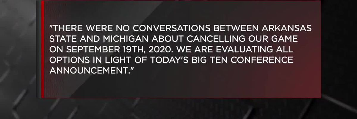 Big Ten cancels Arkansas State/Michigan football matchup, Red Wolves release statement