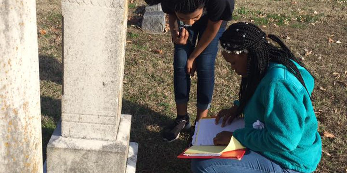 EAST students mapping out cemetery
