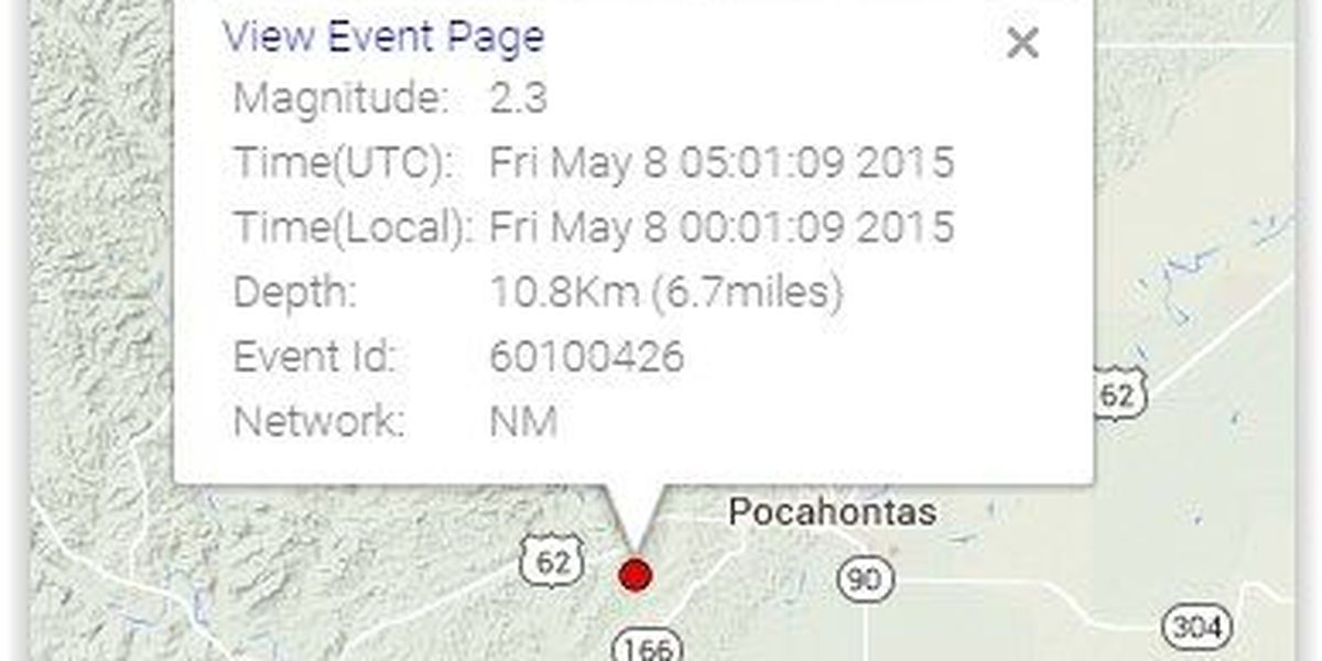 Small earthquake recorded near Pocahontas