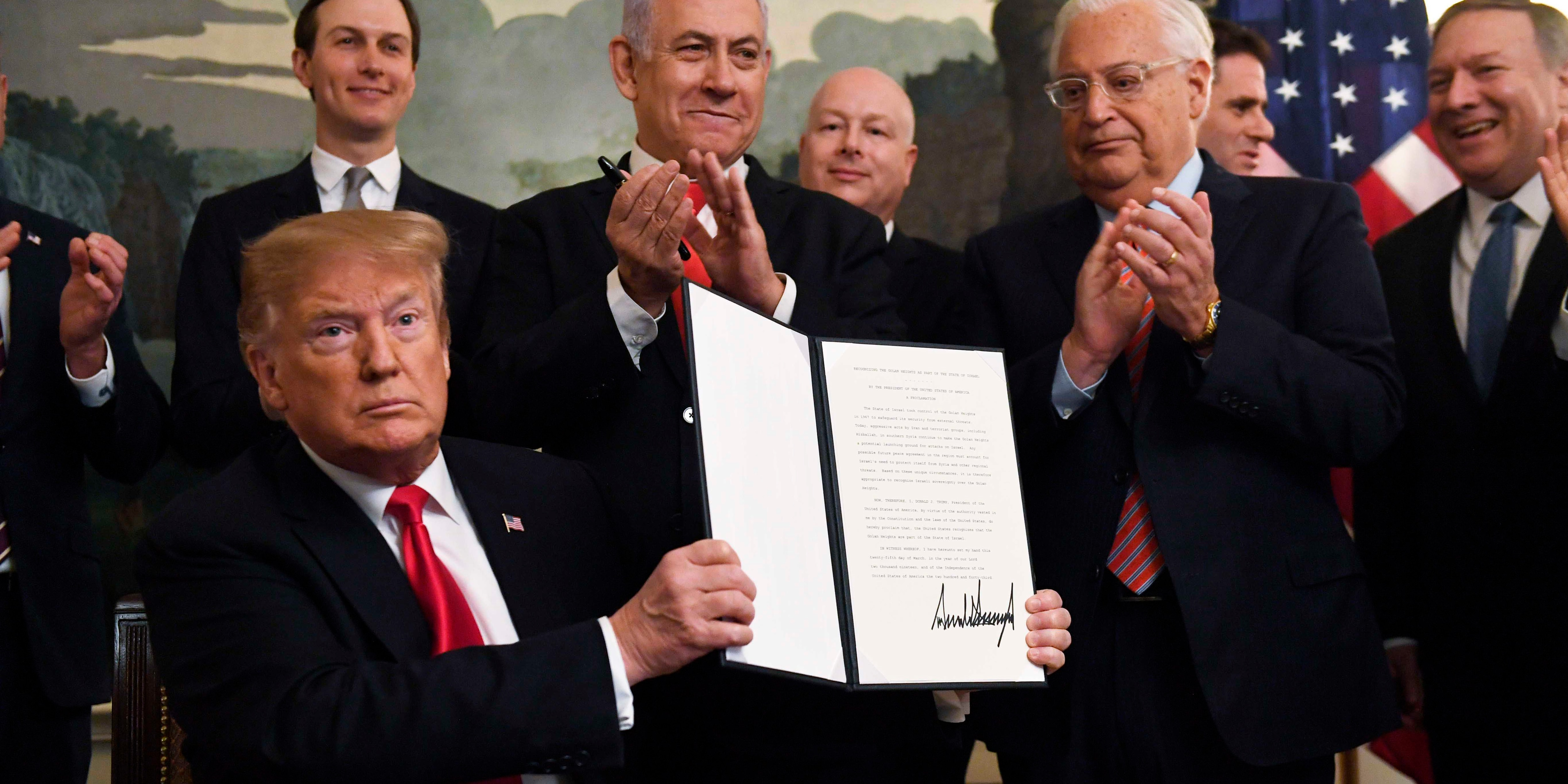 Trump signs declaration reversing US policy on Golan Heights
