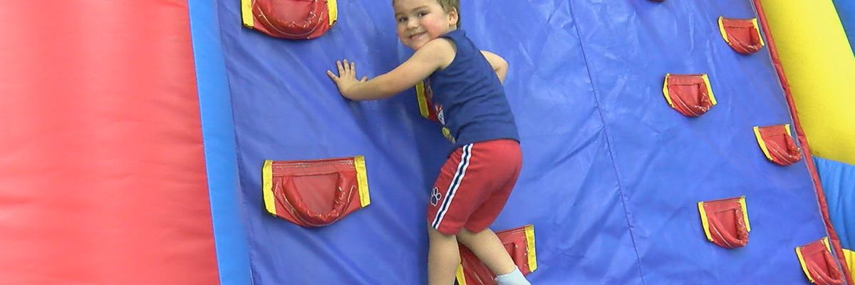 Bouncing to get the energy out at back to school bash