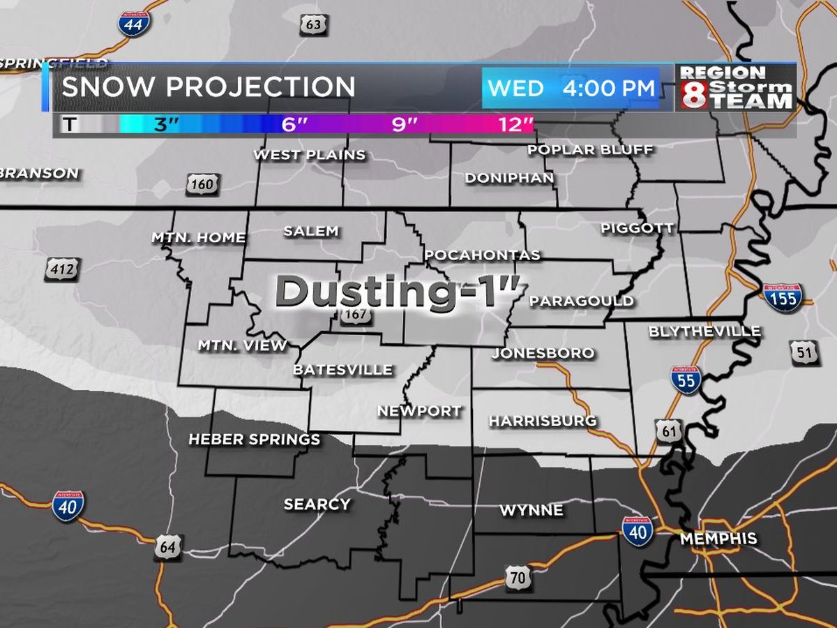 Region 8 could see some light snow Wednesday