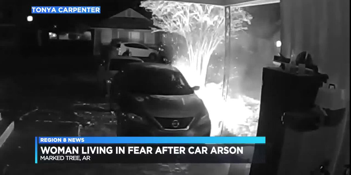 Marked Tree woman's garage camera catches someone setting her car on fire