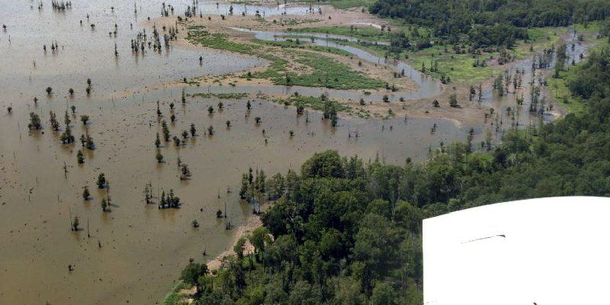 AGFC air drops waterfowl habitat on Millwood Lake