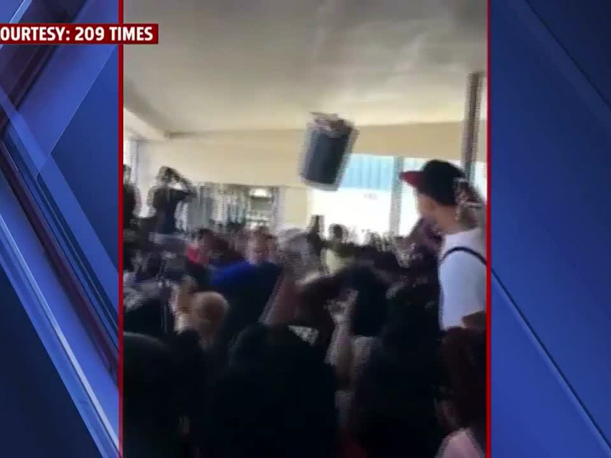 Officer hit with trash can during brawl at California high school
