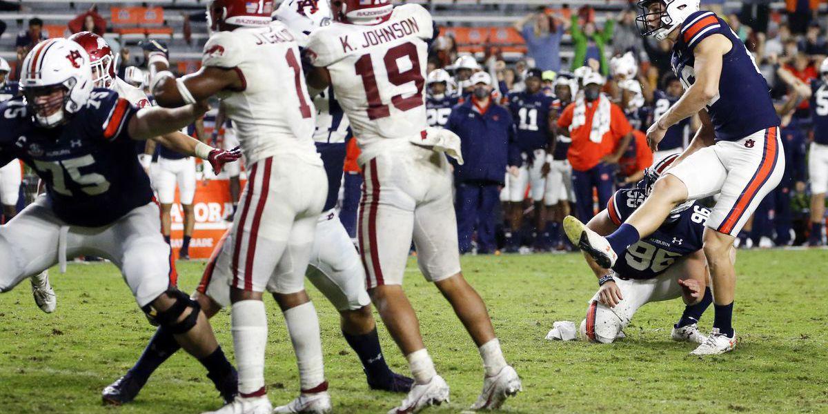 Arkansas falls late to #13 Auburn 30-28