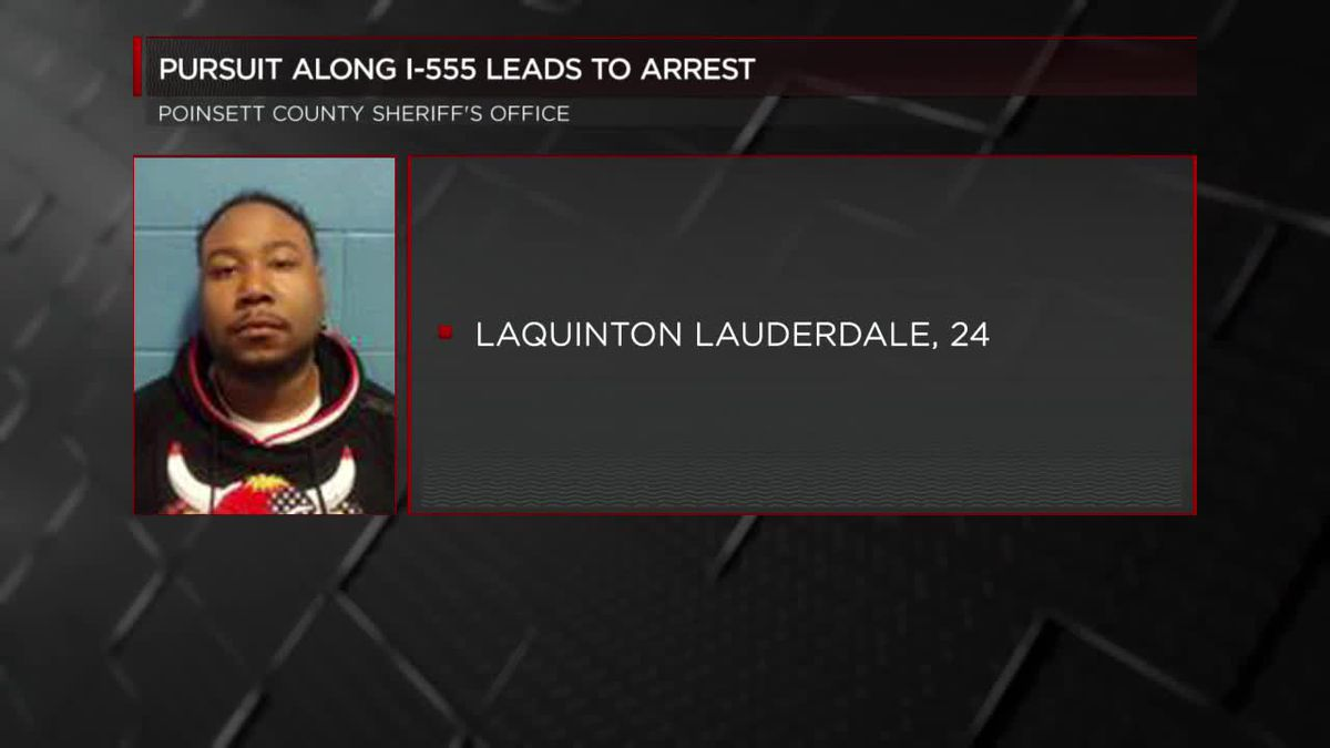 Pursuit along I-555 leads to arrest
