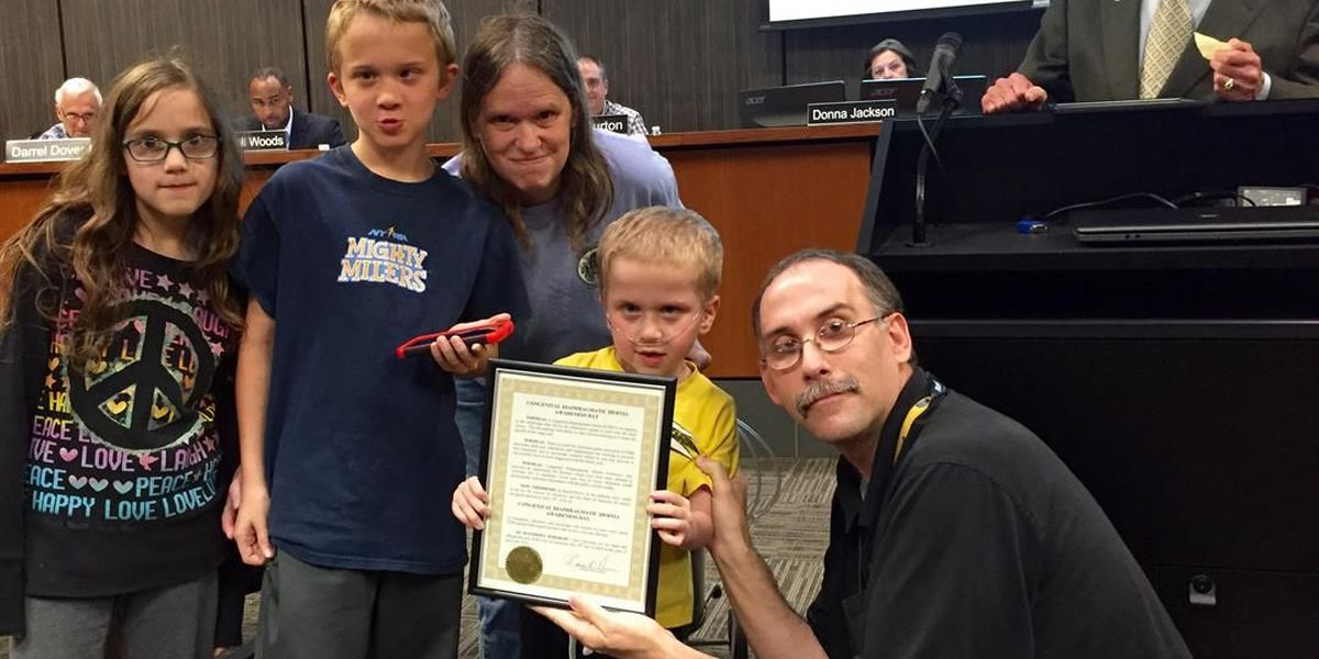 Mayor honors boy for continued fight against CDH