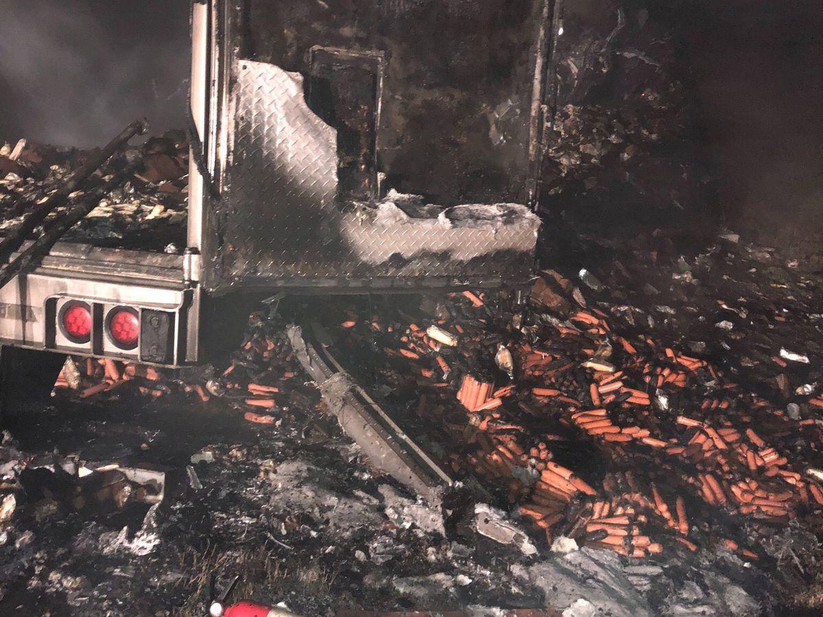 Semi hauling hot dogs catches fire near Sikeston