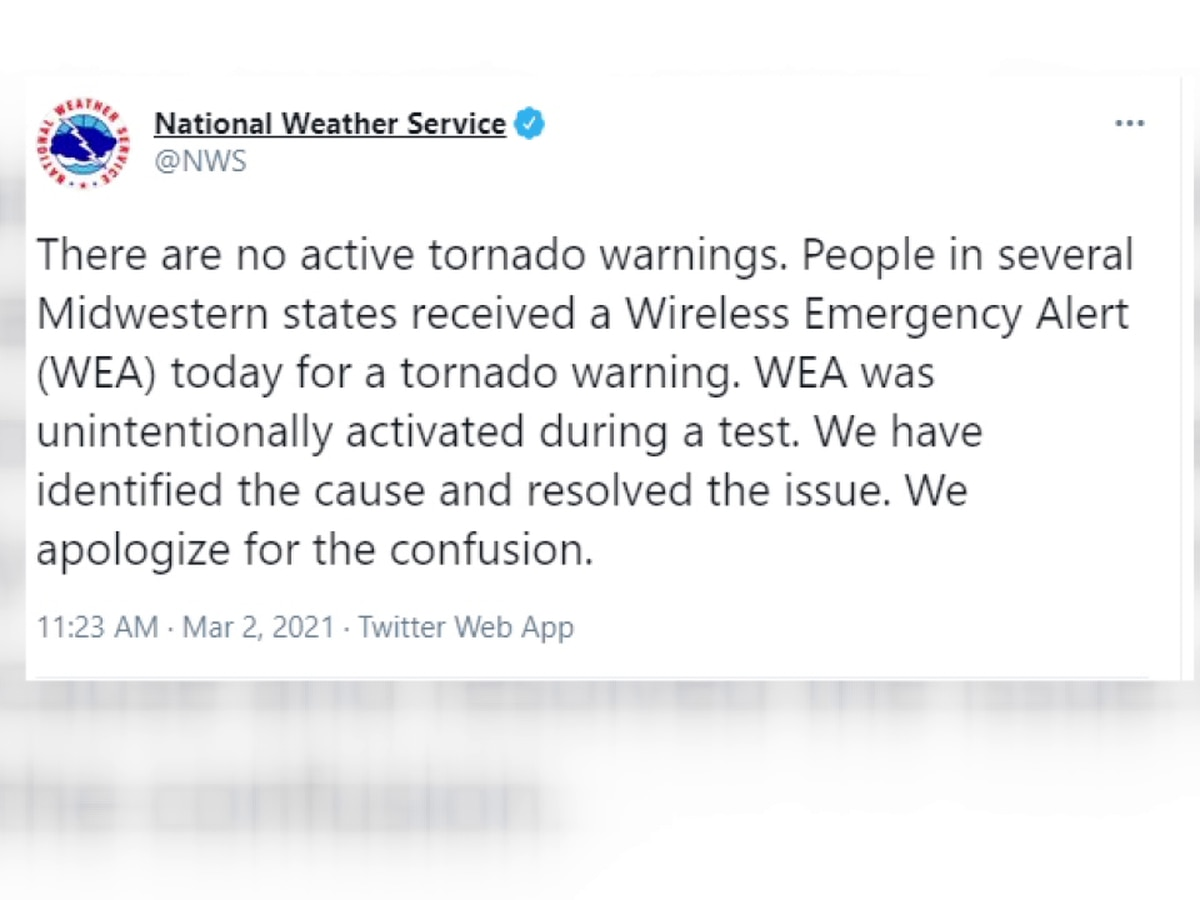 Error causes tornado warning confusion across multiple states