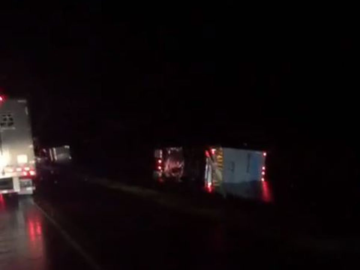 Multiple semi-trucks blown over on roadways across the Mid-South