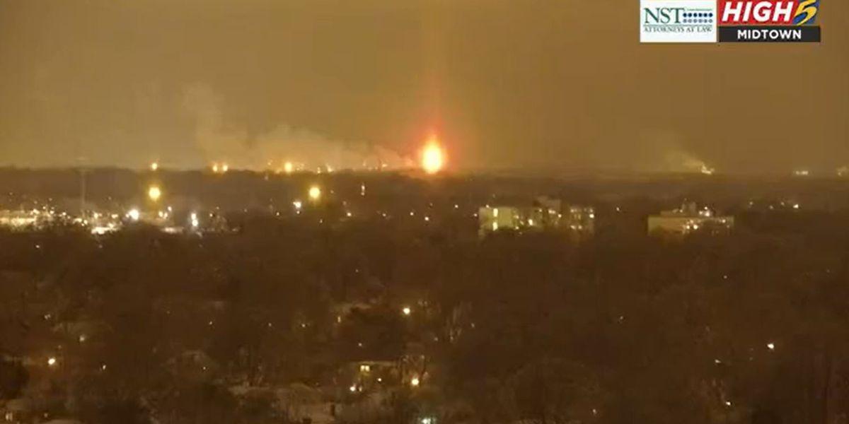 WATCH: Valero Memphis Refinery flare shines bright in wintry night sky
