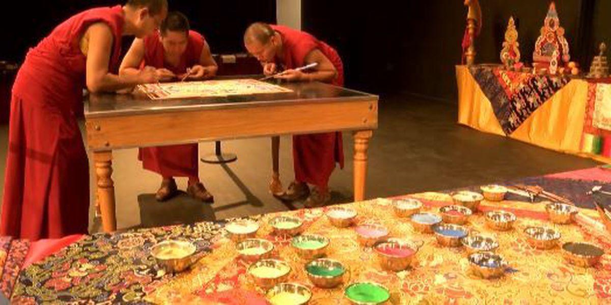 Tibetan monks visit Lyon College to create, then destroy piece of art