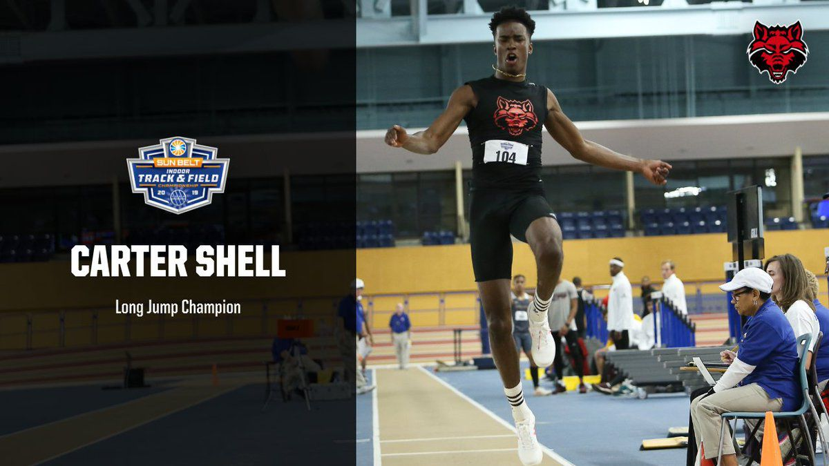 Long jump title highlights Day 1 for Arkansas State at Sun Belt Indoor Championships
