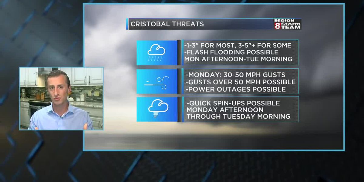 Live on GMR8: Cristobal could bring heavy rain, winds, possible tornadoes to Region 8