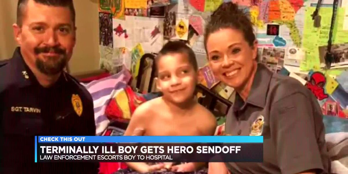 Police deliver special send-off for terminally ill boy