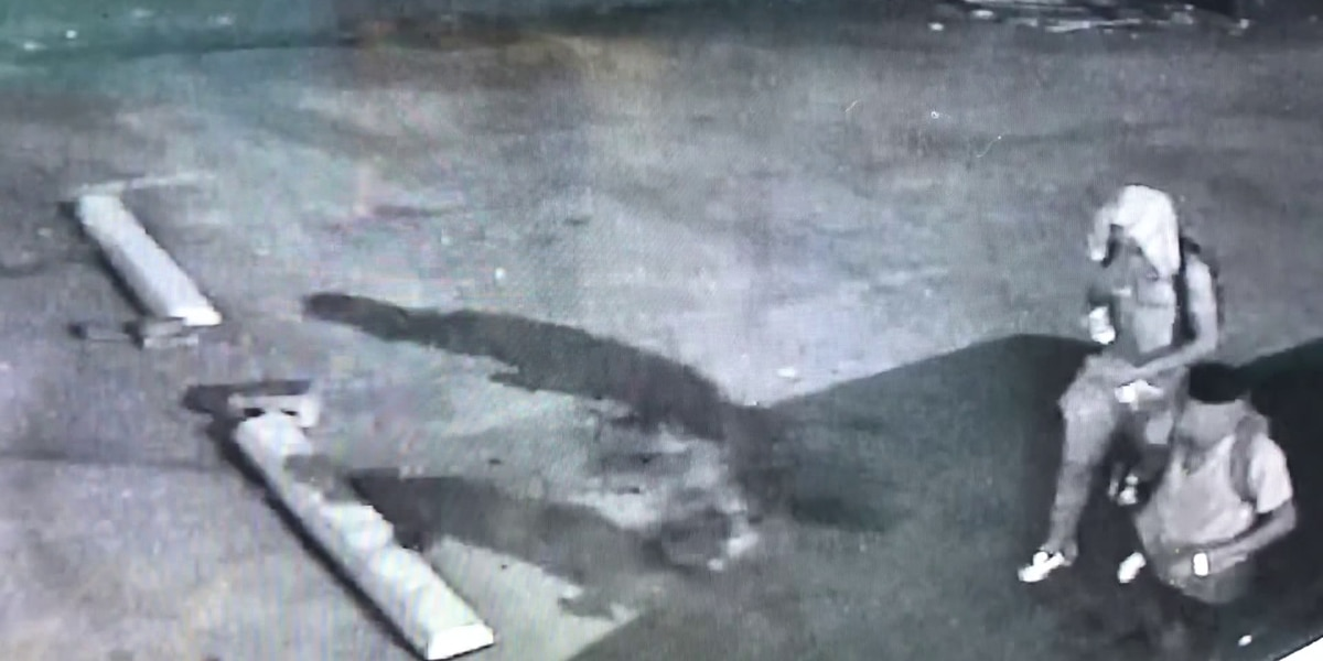 Surveillance footage shows robbery suspects just before demanding victim's pants