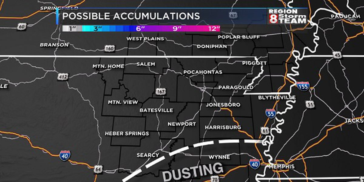 Light wintry weather possible Monday in Region 8